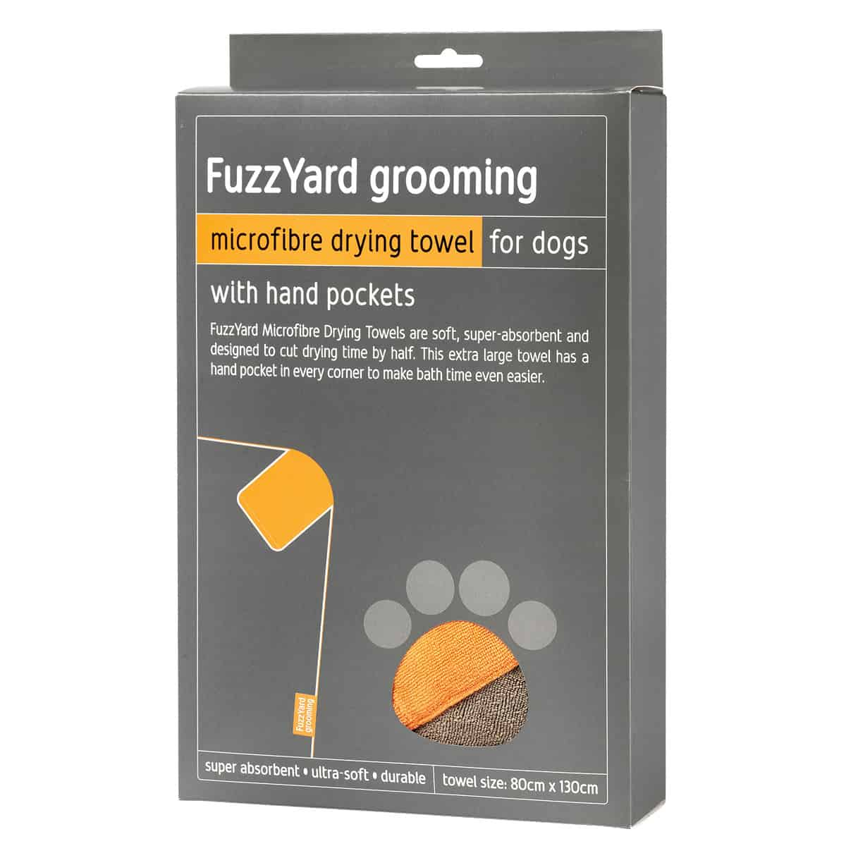 Fuzzyard Microfibre Drying Towel With Hand Pockets